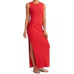 Athleta Long Saffron Red Rib Henley Maxi Dress XL